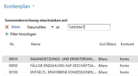 Datumsfilter in Microsoft Dynamics NAV