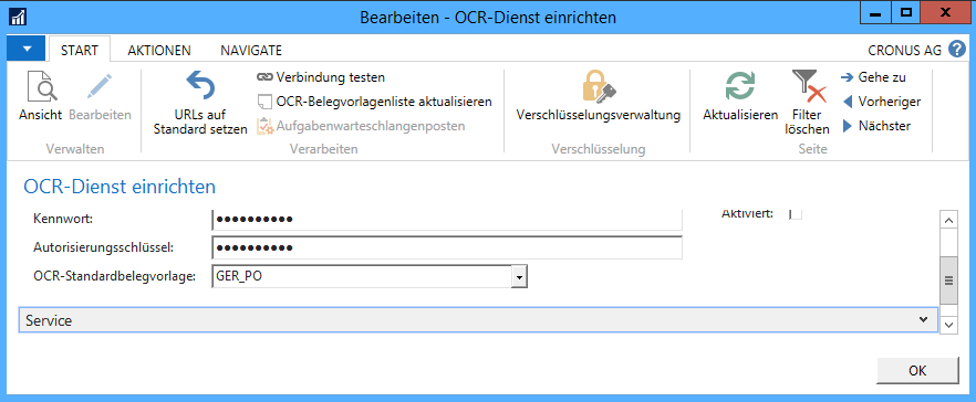 Dynamics NAV 2016 OCR Registrierung