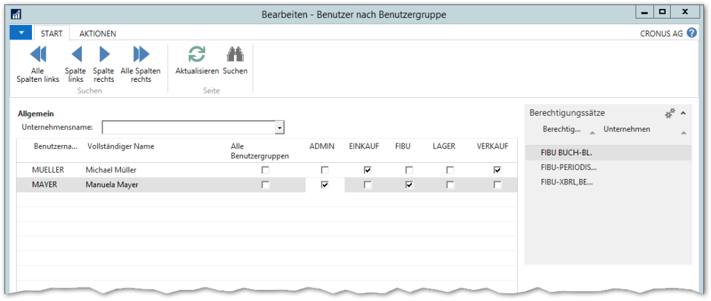 Benutzer nach Benutzergruppen in Microsoft Dynamics NAV 2016