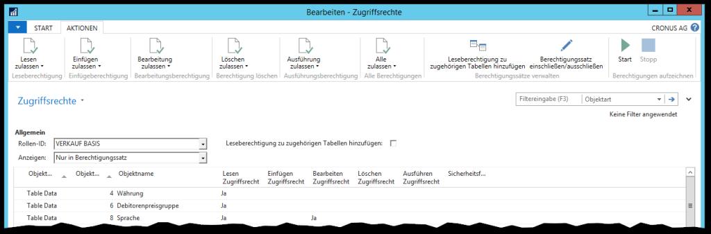 Zugriffsrechte in Microsoft Dynamics NAV 2016