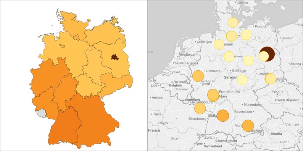 Qlik Sense Geo Auswertung Flächen- und Punktvisualisierung