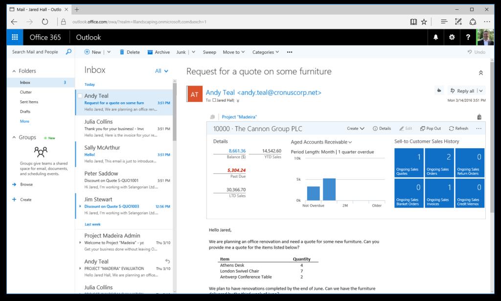 Outlook Integration in Dynamics NAV 2017