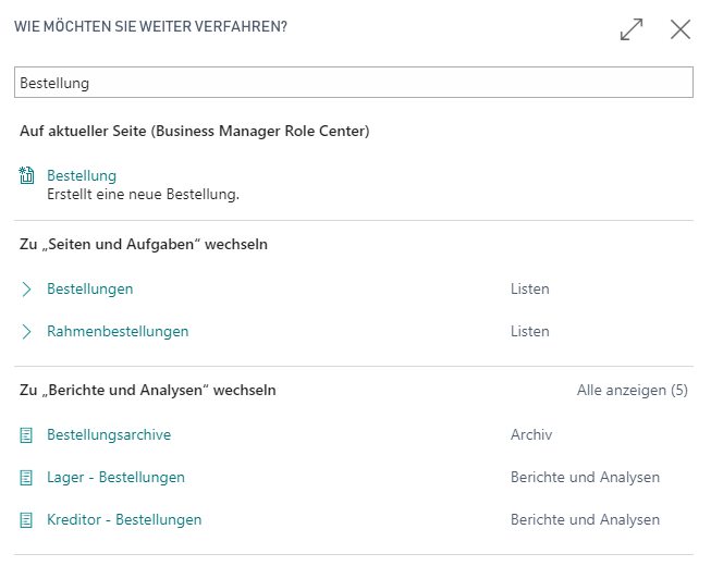 Suchfunktion in Dynamics 365 Business Central