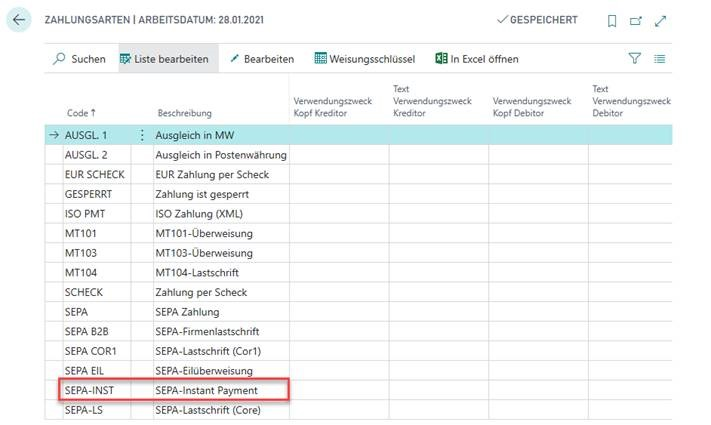 "Neue Zahlungsart ""SEPA-Instant Payment"" in OPplus"