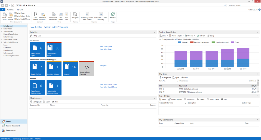 Microsoft Dynamics NAV 2015 Features Release Tablet Client Document Report