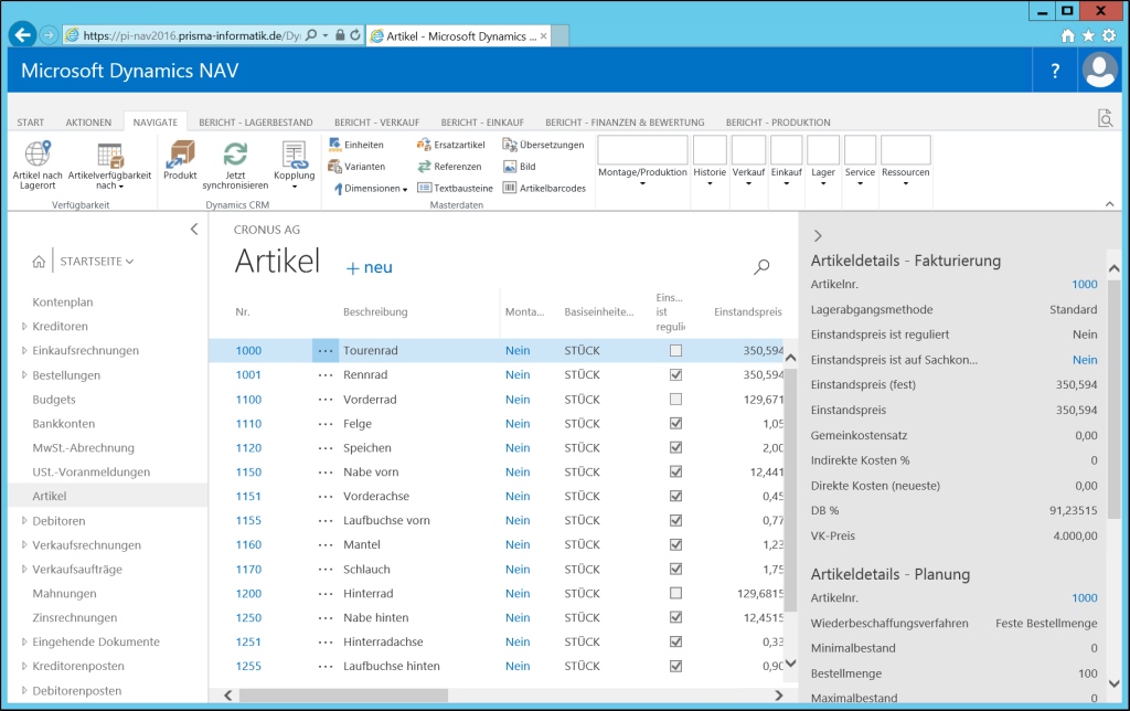 Microsoft Dynamics NAV 2016 Web Client