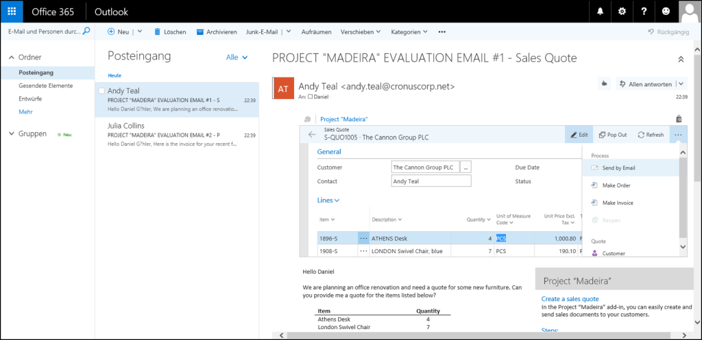 Microsoft Project Madeira Office 365 Integration