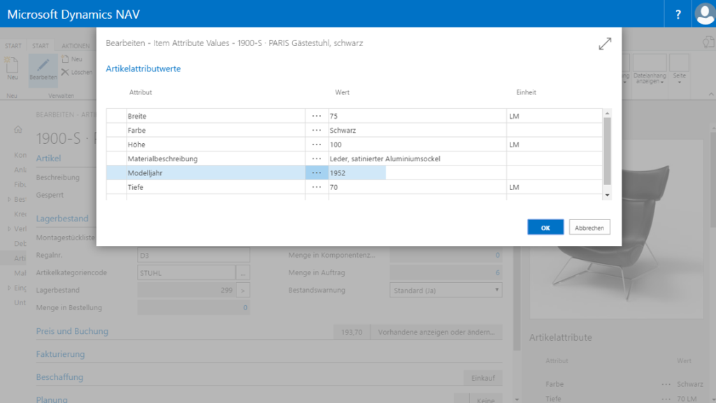 Definition and allocation of attributes in Dynamics NAV 2017