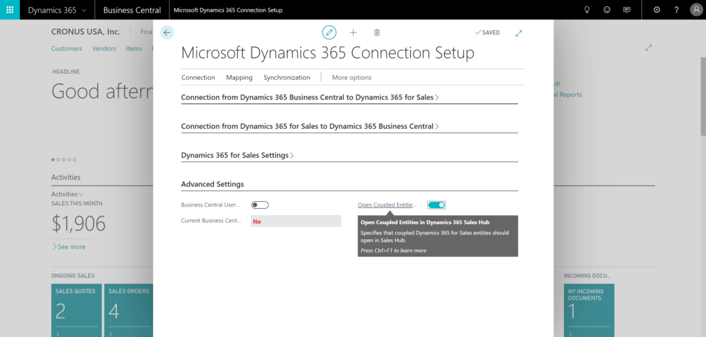 Integration of Dynamics 365 Business Central and Dynamics 365 Sales