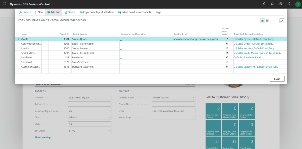 Document Layouts page in Dynamics 365 Business Central