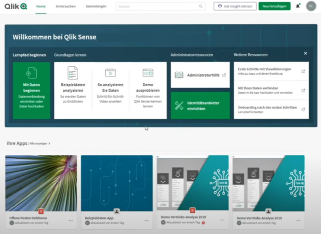 Welcome page in Qlik Sense Enterprise SaaS