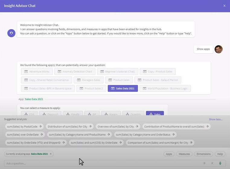 Qlik Sense Insight Advisor Chat