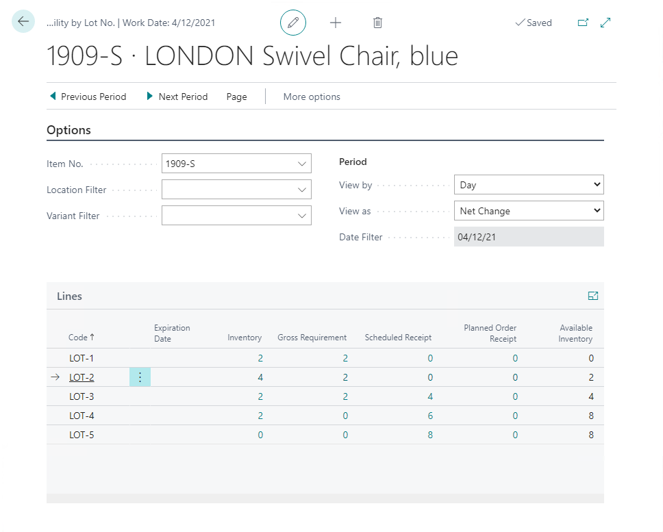 Availability by Lot page in Dynamics 365 Business Central